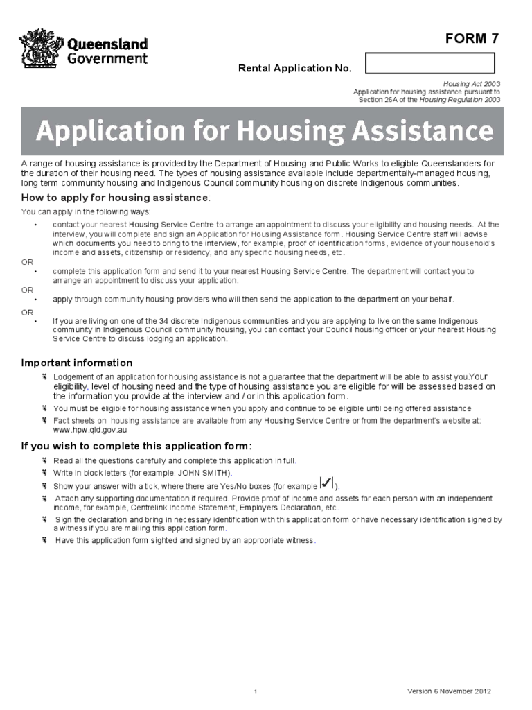 Queensland Application for Housing Assistance