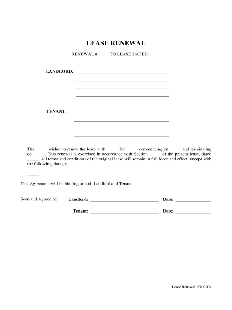 Rental Renewal Sample Form