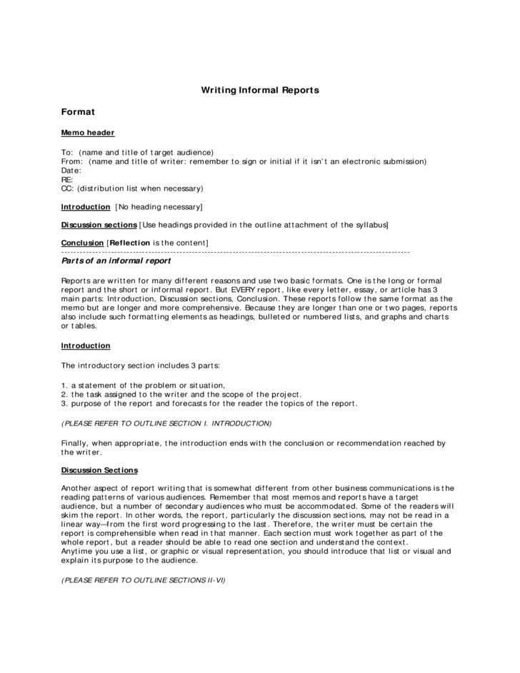 Sample report academic writing