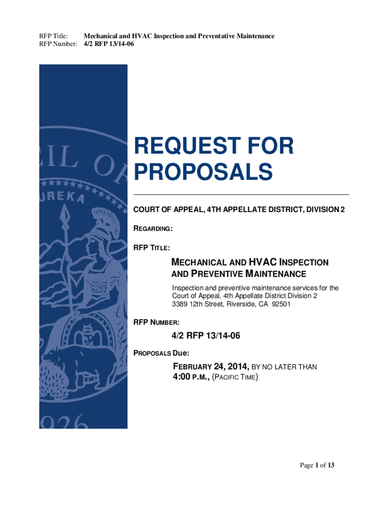 Request for Proposal - California