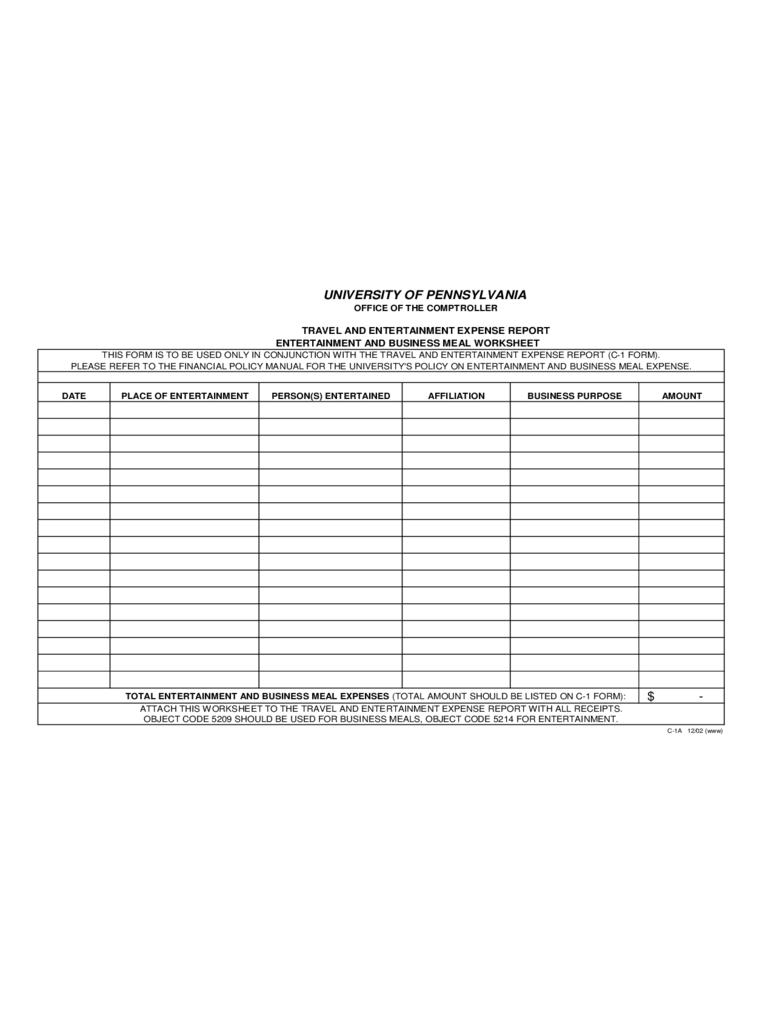 Business Meal Or Entertainment Reimbursement Request Form   Pennsylvania