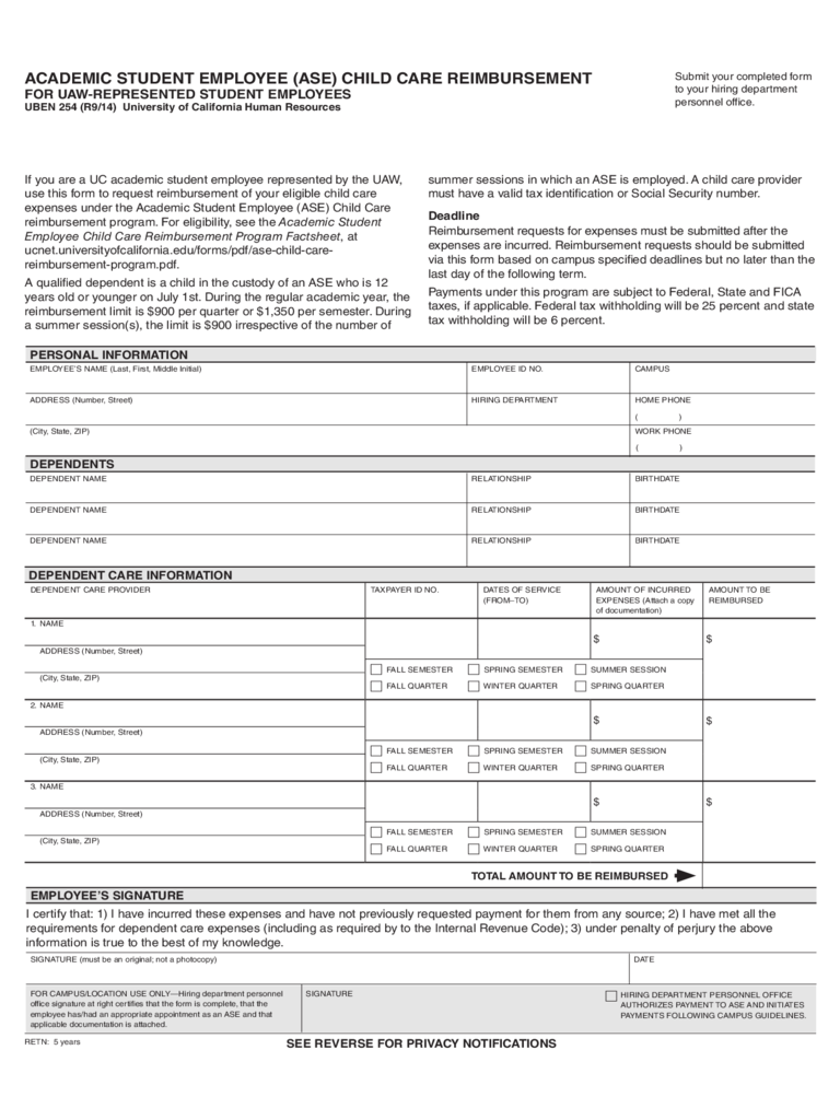 Academic Student Employee (ASE) Child Care Reimbursement Form - California Free Download
