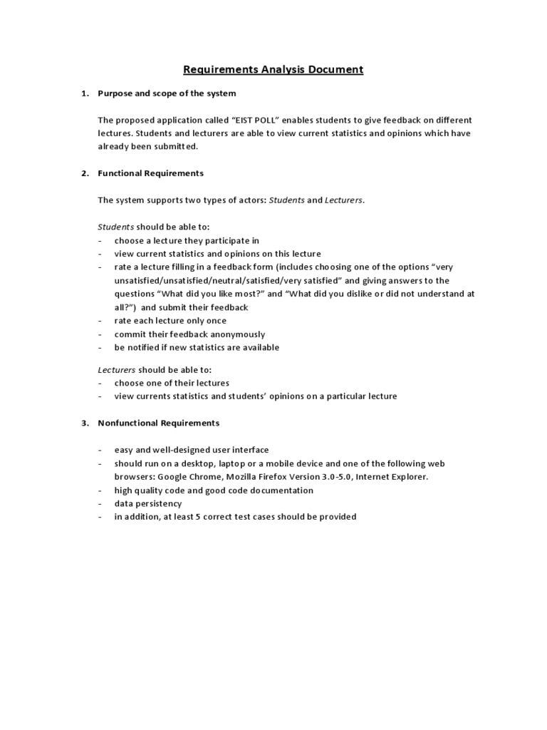 Requirement Analysis Template 2 Free Templates in PDF Word – Requirement Analysis Template