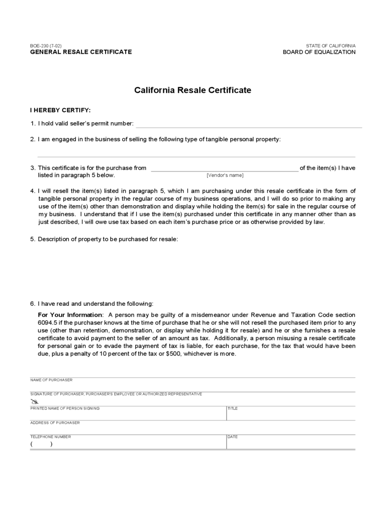 Resale Certificate - California