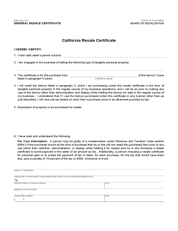 Resale Certificate - California Free Download