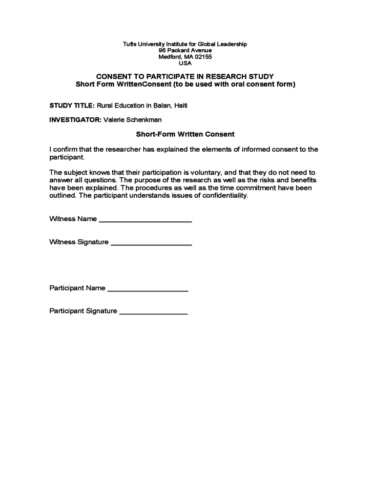 Research Consent Form Sample Tufts University Free Download