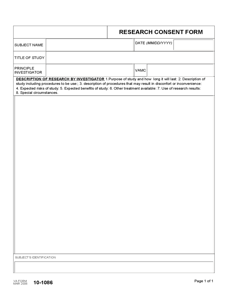 Research Consent Form - Department of Veterans Affairs