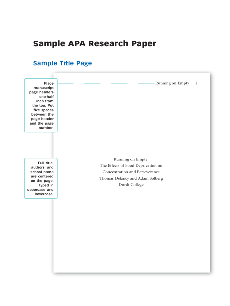 Example of research paper title page apa