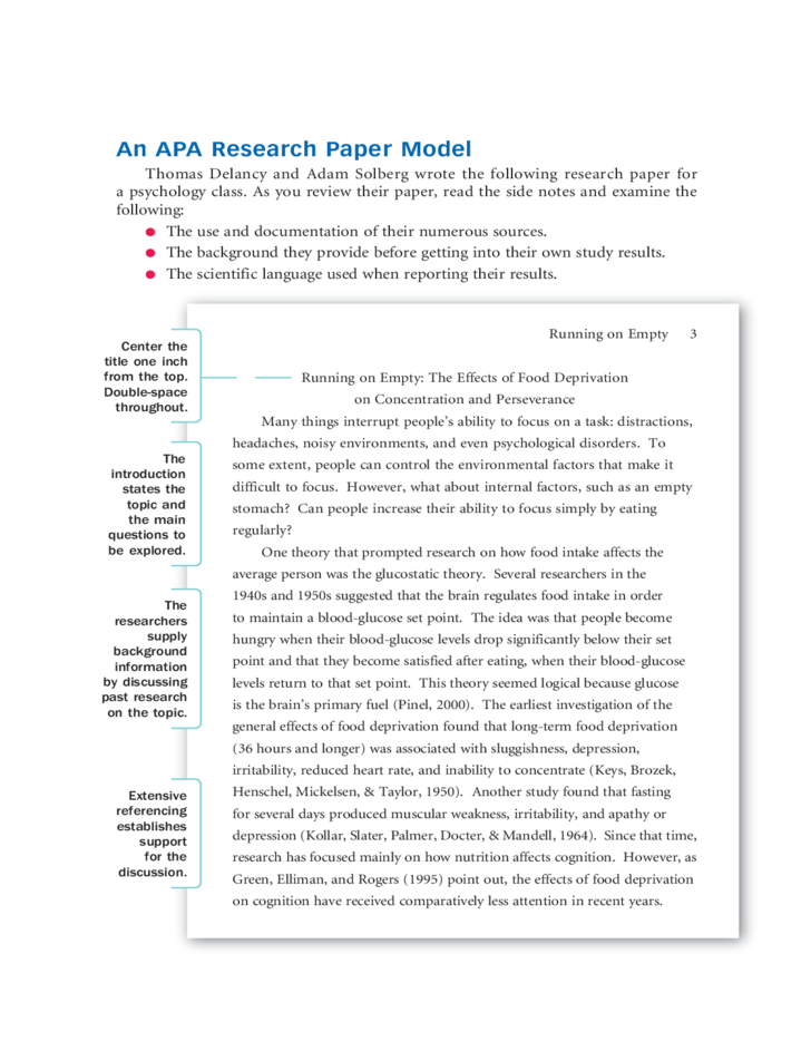 format a research paper apa An apa research paper model thomas delancy and adam solberg wrote the following research paper for a psychology class as you review their paper, read the side notes.