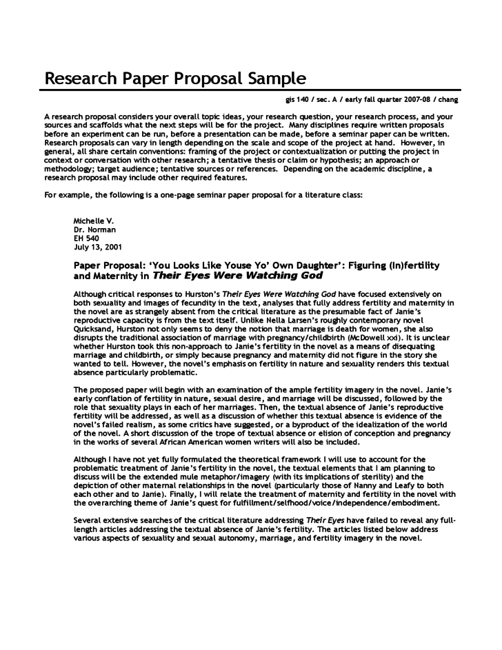 Research Paper Proposal Sample Free Download