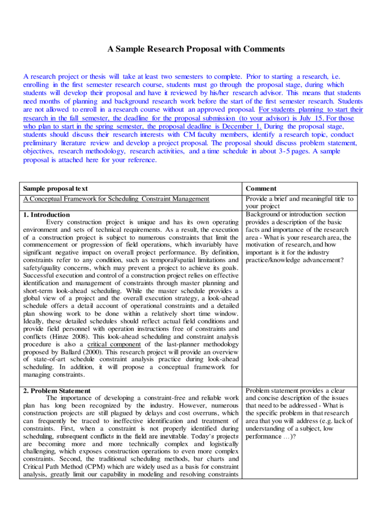 A Sample Research Proposal with Comments