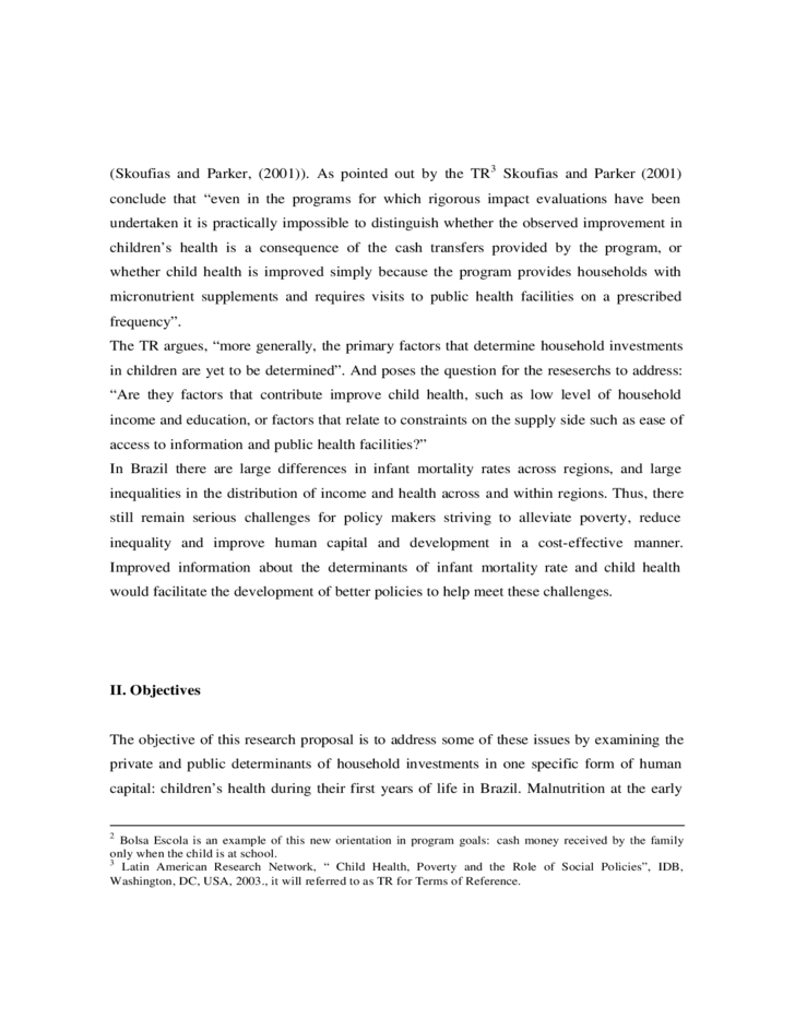 Research Proposal of Child Health, Poverty and the Role of Social Policies