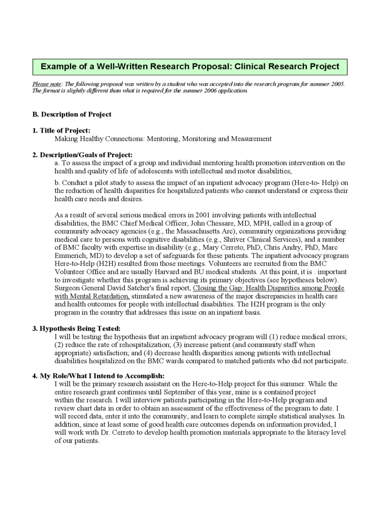 Example of a Research Proposal of Clinical Research Project