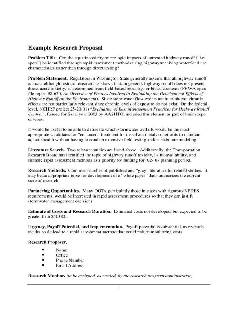 Example Research Proposal