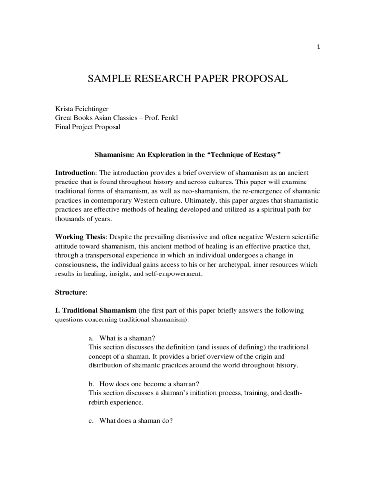 Sample Research Proposal