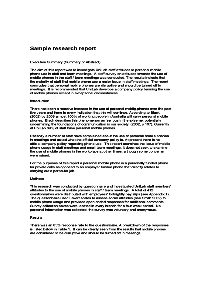 sample of a research report