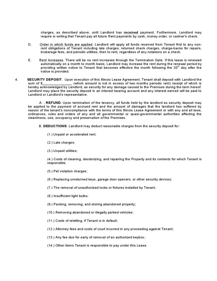 Illinois Residential Lease Agreement Free Download