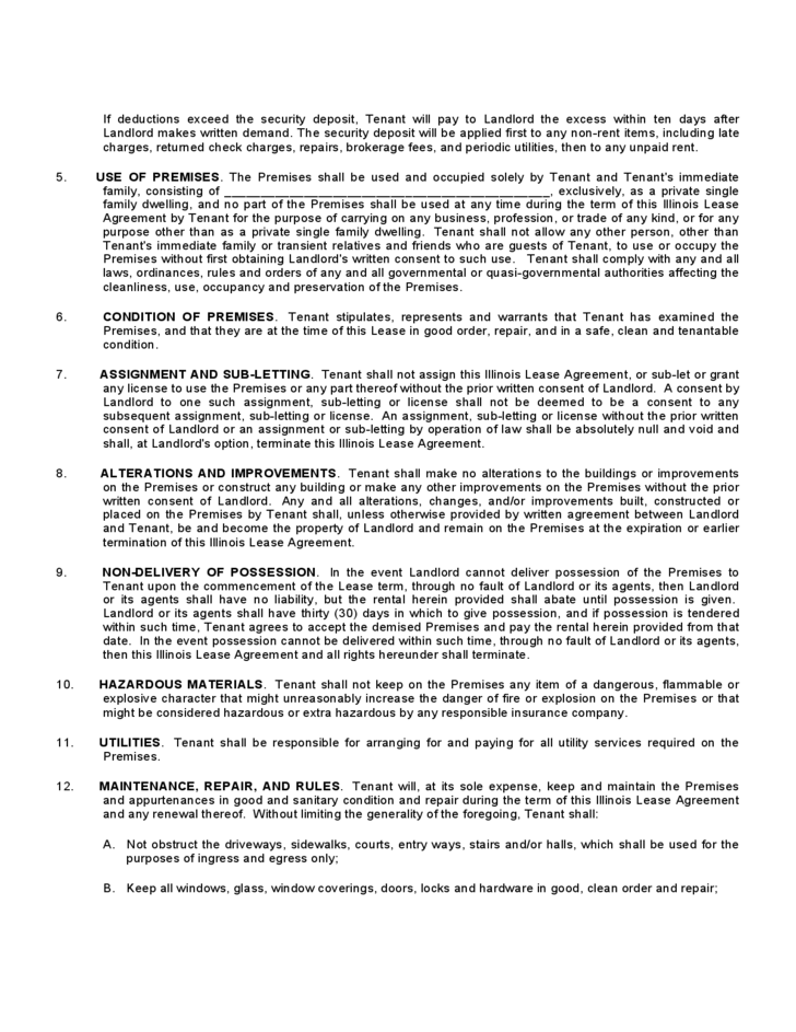 Illinois Residential Lease Agreement