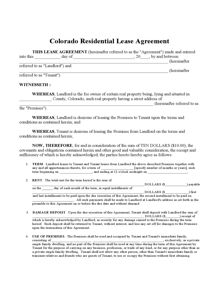 Colorado Residential Lease Agreement