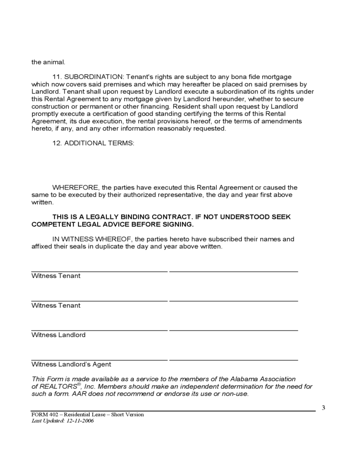 Alabama Residential Lease Agreement Free Download
