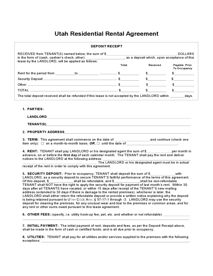Utah Residential Lease Agreement Free Download