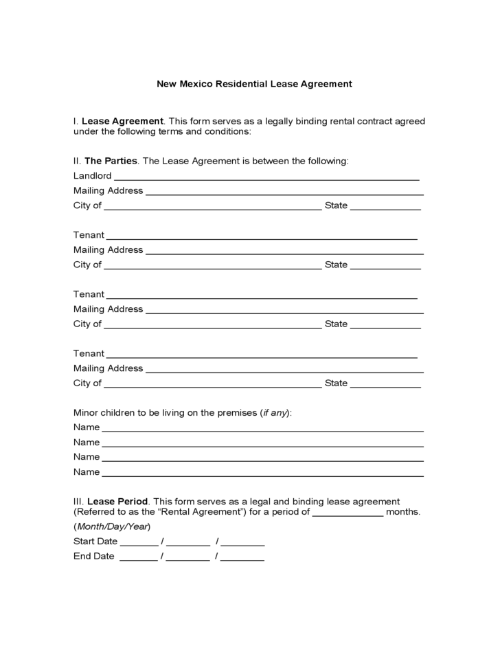 New Mexico Residential Lease Agreement Free Download