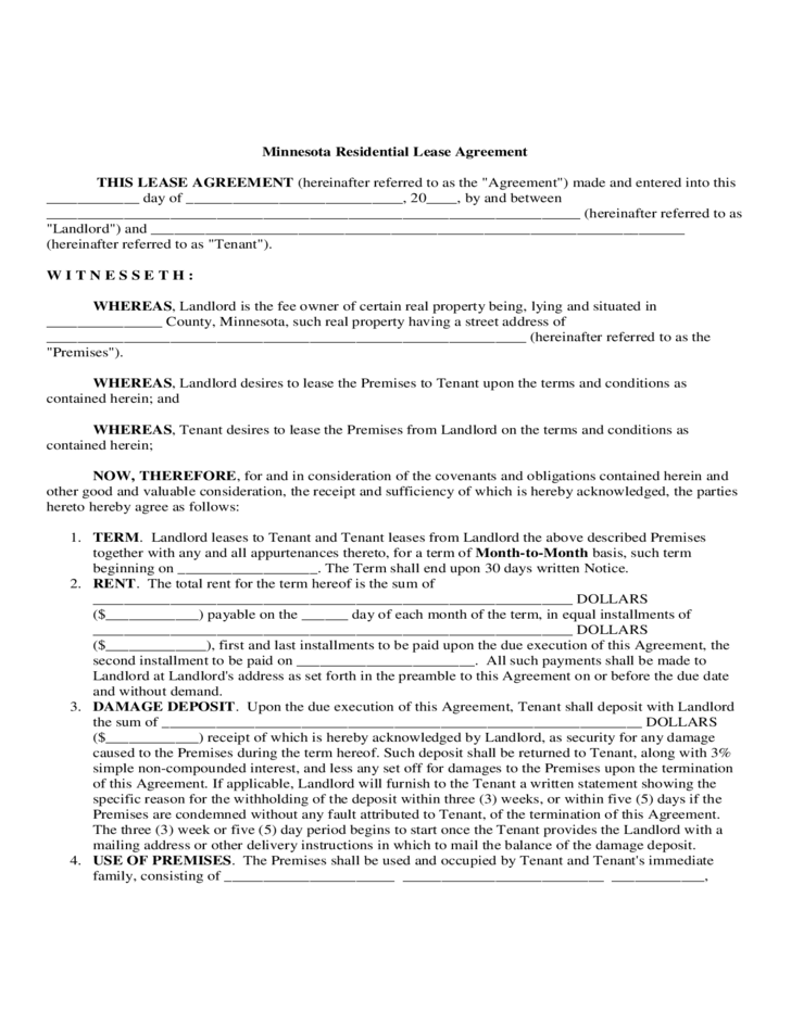 Minnesota Lease Agreement Image Collections Agreement Letter Format