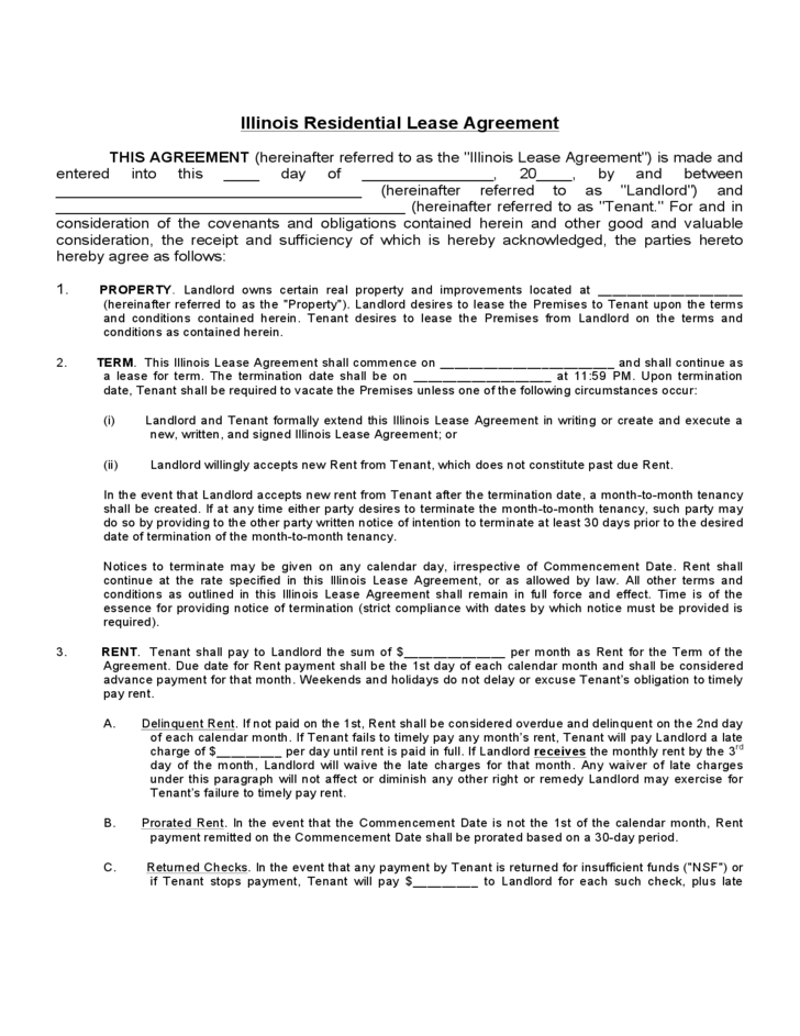 Illinois Standard Residential Lease Agreement