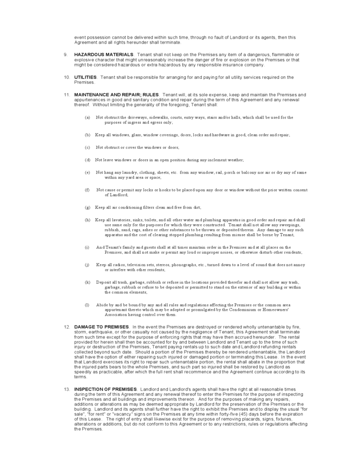 New York Standard Residential Lease Agreement Template