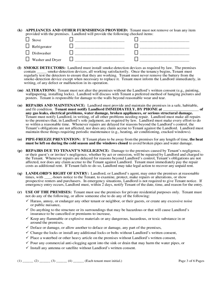 Michigan One Year Residential Lease Agreement Free Download