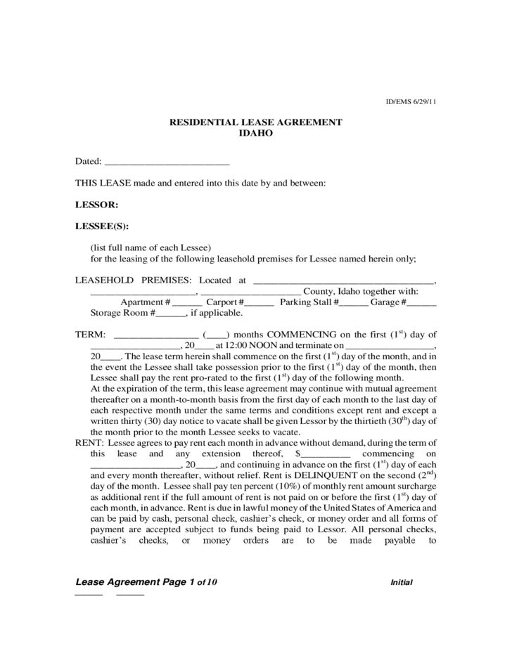 Idaho Residential Lease Agreement Free Download