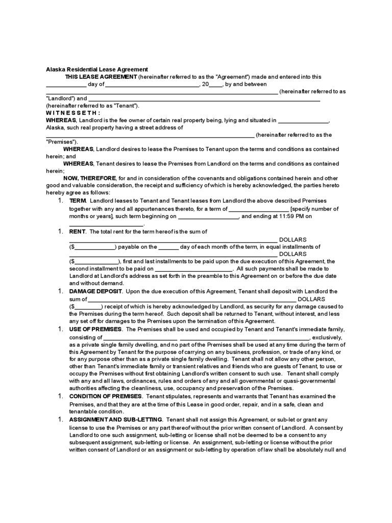 Alaska Standard Residential Lease Agreement