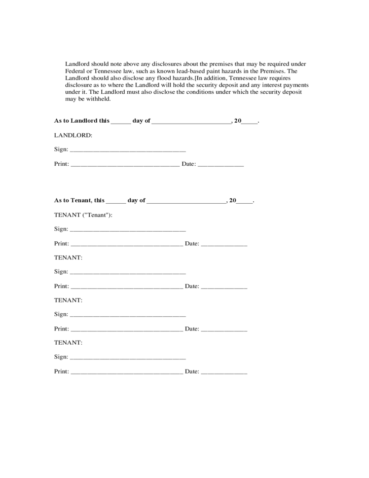 Tennessee Residential Lease Agreement Form Free Download