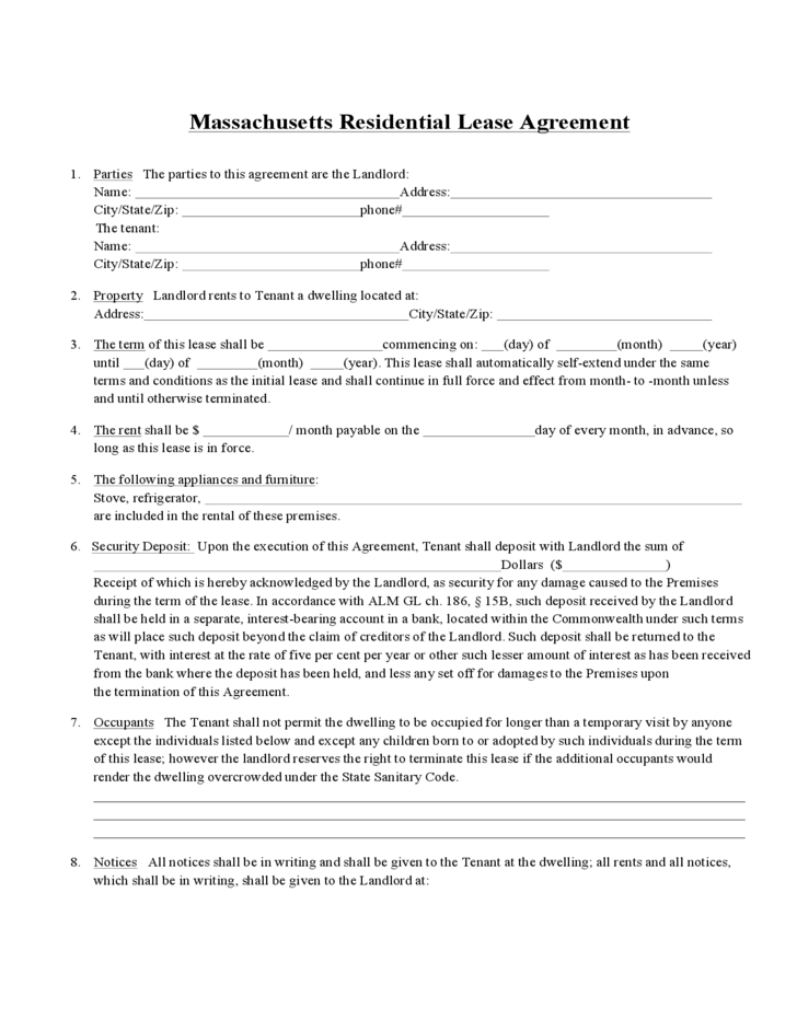 Massachusetts standard residential lease agreement form free download 1 massachusetts standard residential lease agreement form platinumwayz