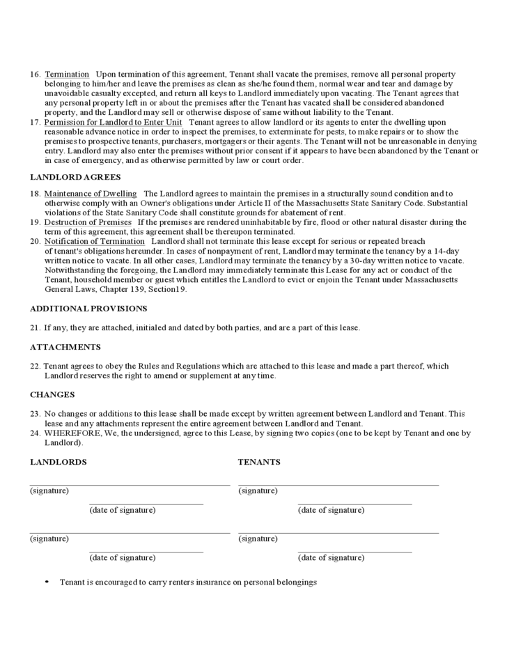 massachusetts standard residential lease agreement form