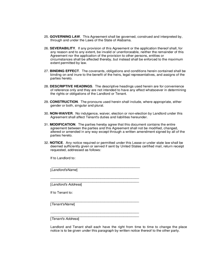 alabama standard residential lease agreement free download
