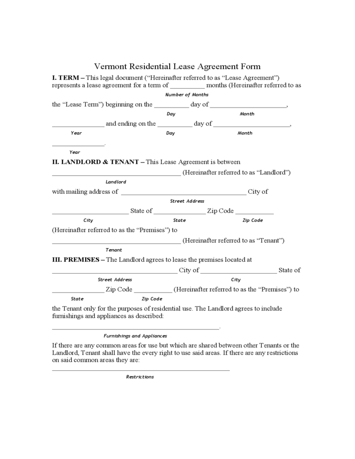 Vermont Residential Lease Agreement Form Free Download