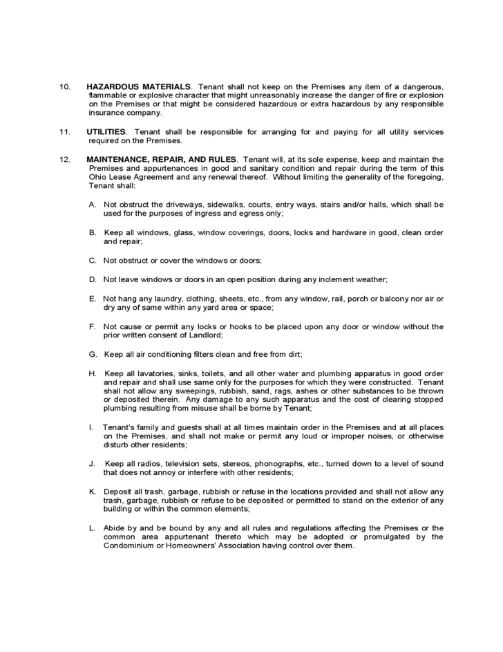 Ohio Residential Lease Agreement Free Download