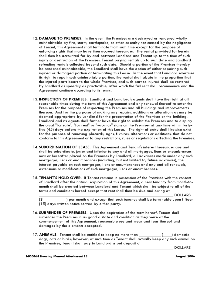 Missouri Residential Lease Agreement Form Free Download