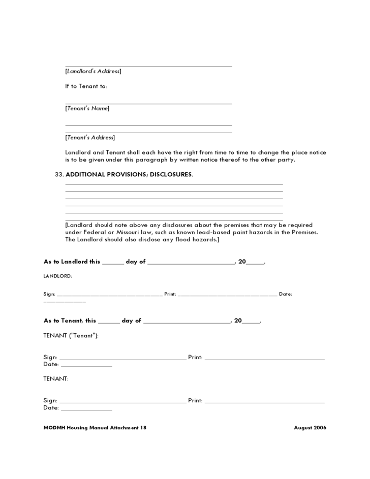 Missouri Residential Lease Agreement Form L