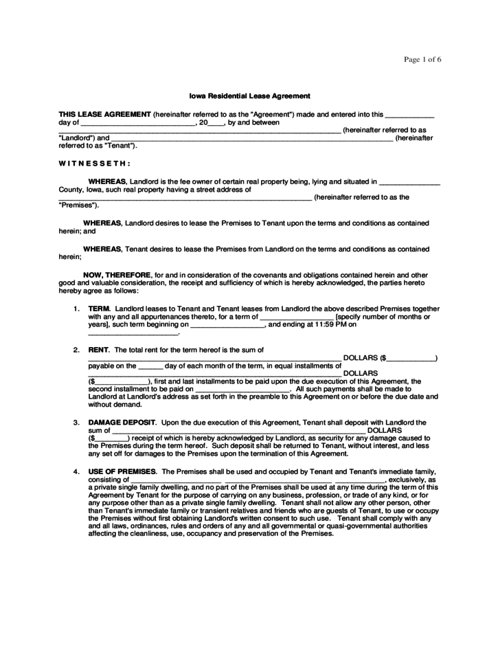 Iowa Residential Lease Agreement Form Free Download