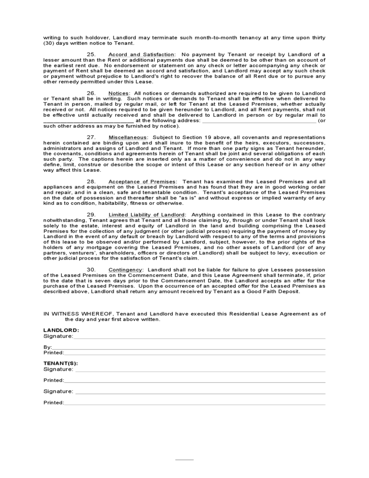 Indiana Residential Lease Agreement Free Download