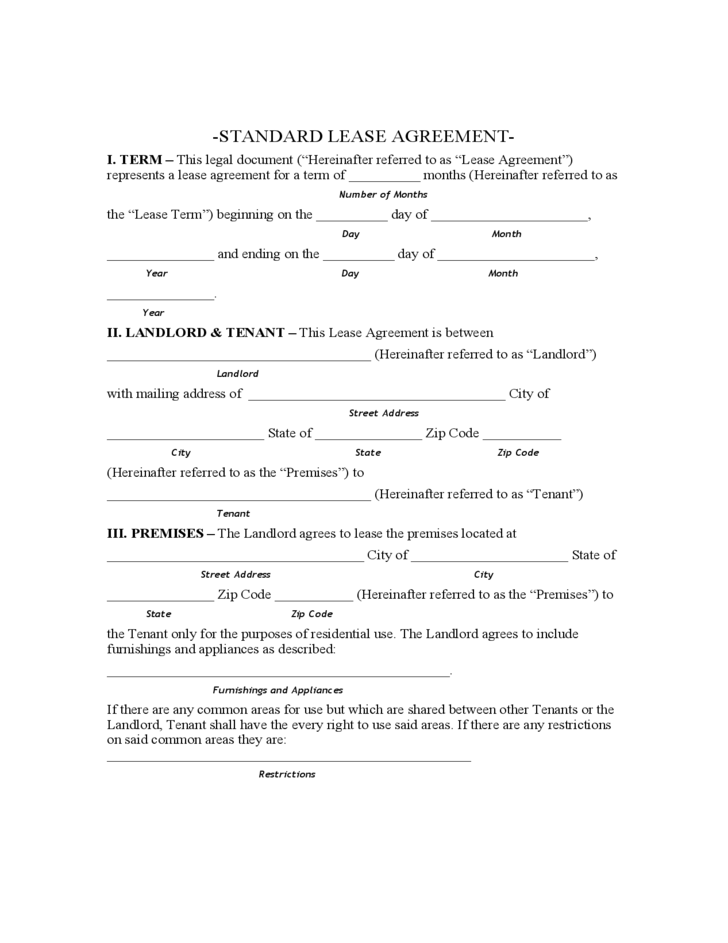 Arkansas Standard Residential Lease Agreement Free Download