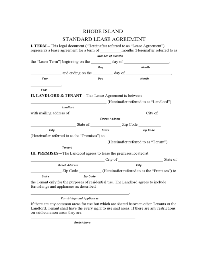 Rhode Island Standard Residential Lease Agreement Free Download