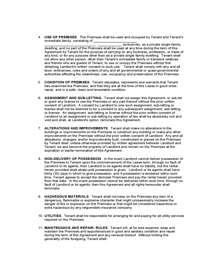 Wisconsin Standard Residential Lease Agreement Free Download