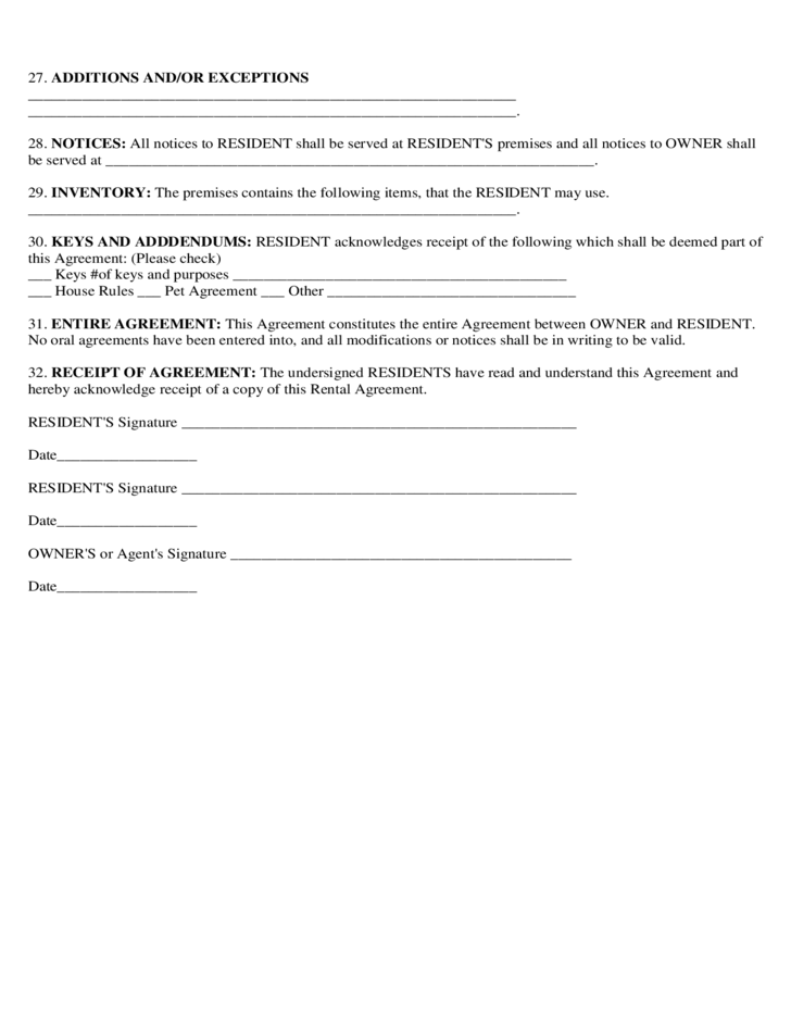 basic rental agreement or residential lease free download