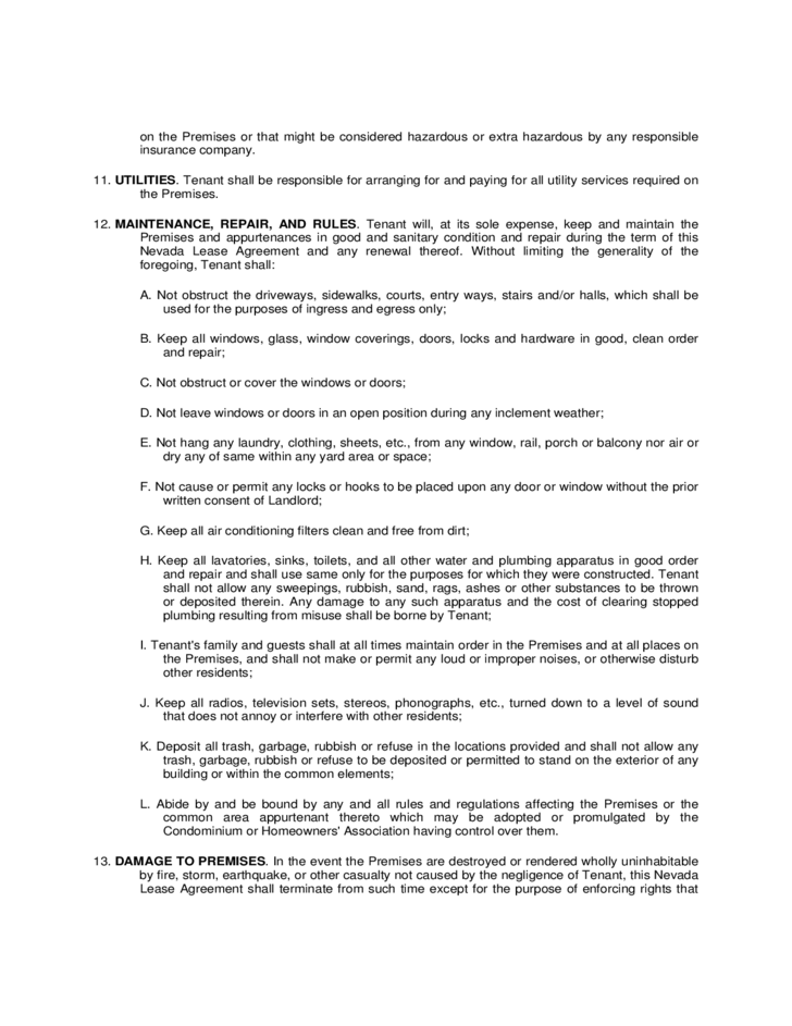 Nevada Residential Lease Agreement Form Free Download