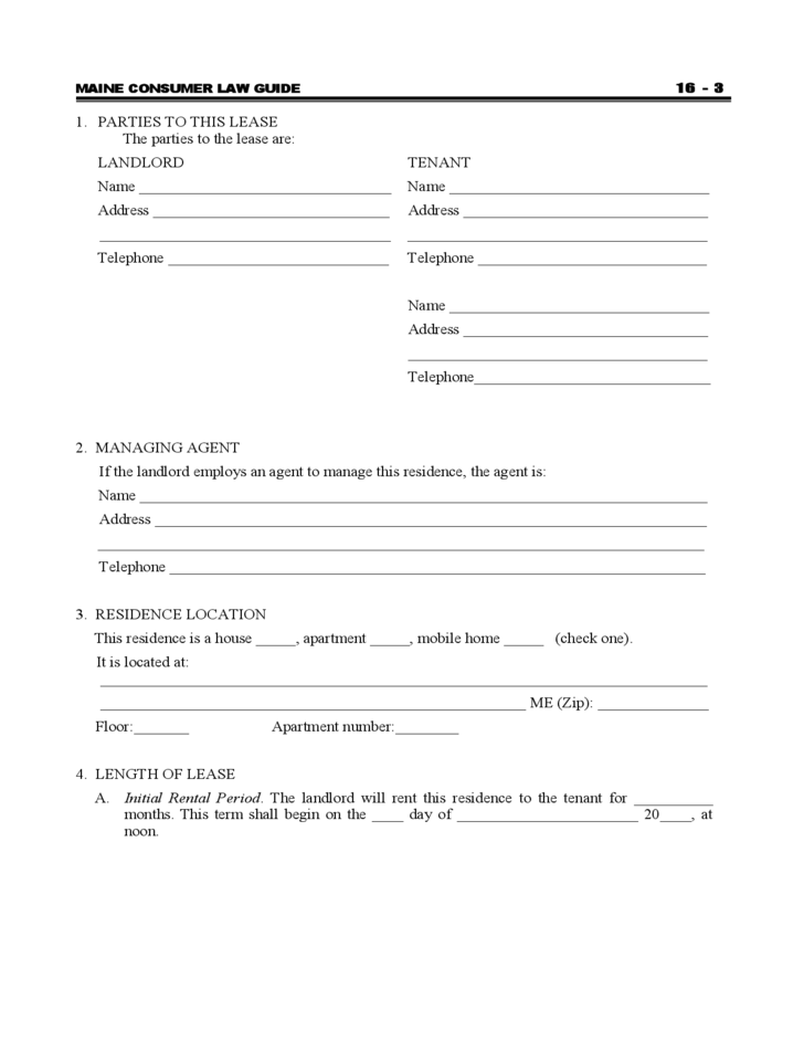 Maine Standard Residential Lease Agreement Free Download