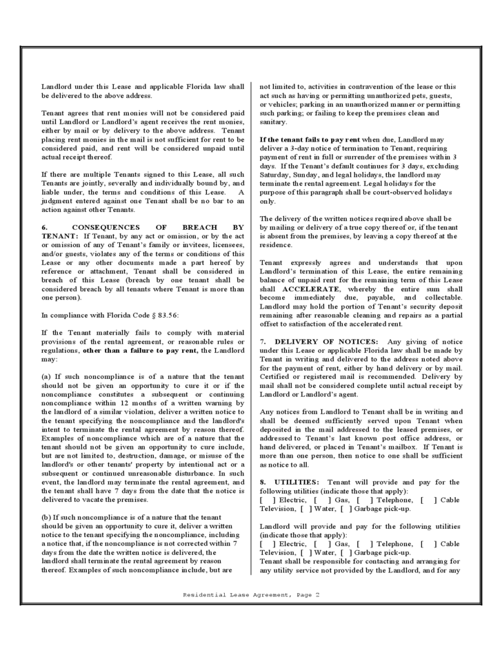 Florida Residential Lease Agreement Free Download
