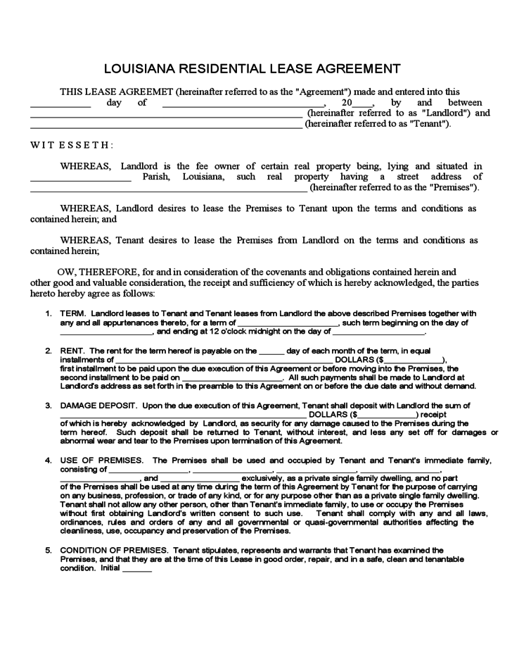 Louisiana Residential Lease Agreement Free Download